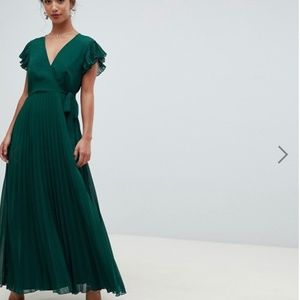 ASOS DESIGN Petite pleated maxi dress with flutter